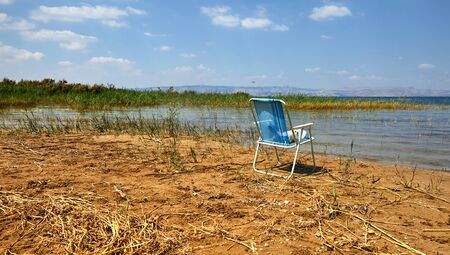 Kinneret Lake -Sea of Galilee coastal strip with bushes and a lonely standing chair