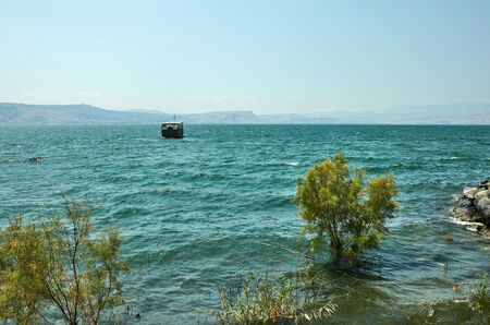 View of the Sea of Galilee from the east side on a summer sunny day