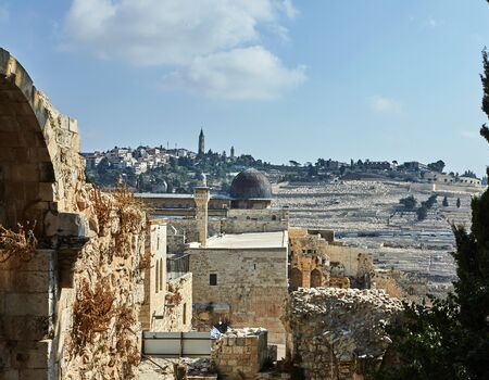 View on Al-Aqsa Mosque from the ancient city wall.