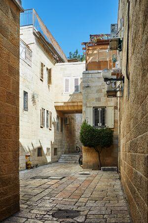 Ancient Alley in Jewish Quarter, Jerusalem. Israel. Photo in old color image style. Reklamní fotografie