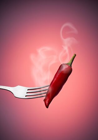 Red chili peppers on a fork with smoke on a red gradient background.