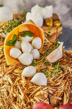 Baby mozzarella cheese on a hay with grapes and garlic on a blue background. Italian delicacies. Stock Photo