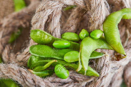 Edamame or soybeans spill out of the bag onto a brown sackcloth.