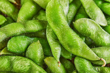 Edamame or soybeans background texture Close up. Stock fotó