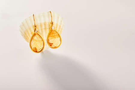 Gold earrings with rutile quartz stone hang on a sea shell on a light background. Stock fotó