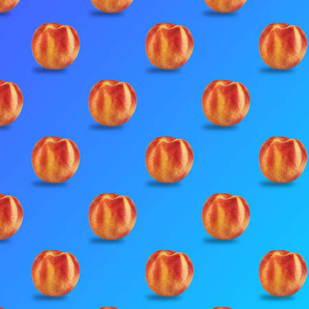 Fresh juicy peach pattern isolated on a blue gradient background.