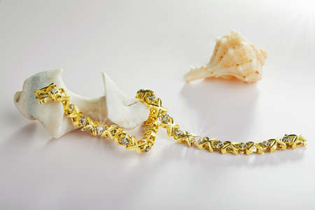 Gold bracelet with diamonds with sea shells on a light background.
