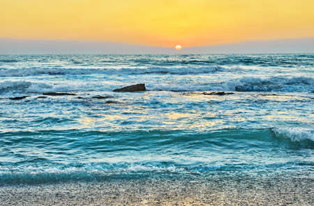 Summer sunset over the Mediterranean Sea in Israel. Stock fotó - 152677556