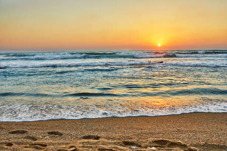 Summer sunset over the Mediterranean Sea in Israel.