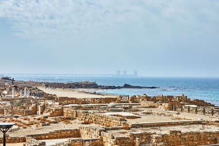 A view of the excavations of Herod's palace in Caesarea Maritima National Park.