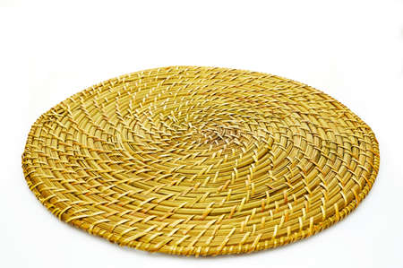 Handmade natural product, woven bamboo plate, rattan weaving. Eco friendly and sustainable concept. Eco-friendly shopping and recycled gifts.