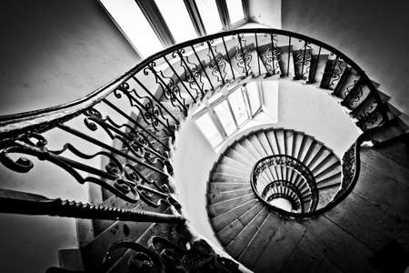 spiral staircase: Black and white spiral staircase