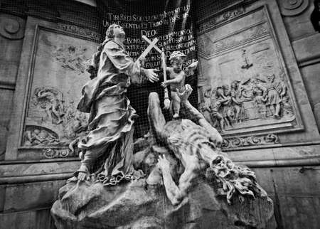 Black and white plague column in Vienna, Austria Editorial