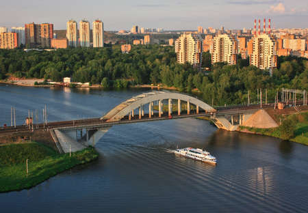 river boat: Railway bridge and river boat near Moscow park