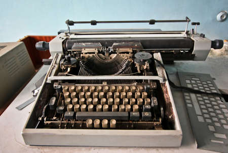vestige: Old typewriter on the abandoned factory