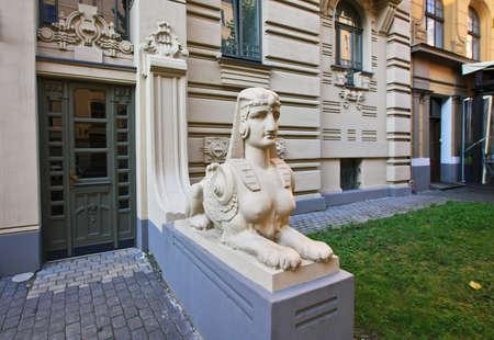 riga: Sphinx on the street of Riga