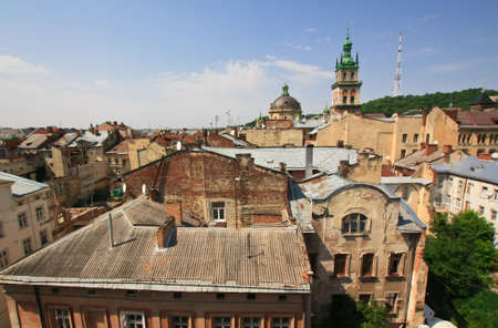 lvov: Old european architecture from rooftop in Lvov Stock Photo