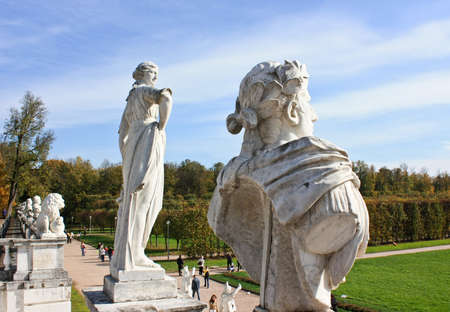 busts: White ancient statues in the park Editorial