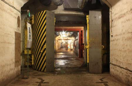 hermetic: Yellow hermetic door in the underground tunnel