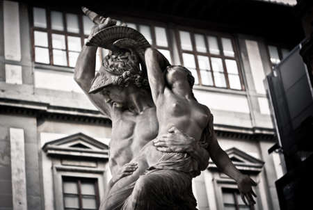 abduction: Statue Abduction Polixena in Florence Stock Photo