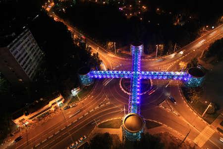 modern bridge: Modern bridge at crossroads on the night Stock Photo