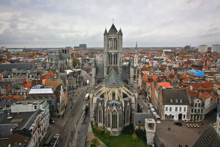 Gothic cathedral on Gent from rooftop