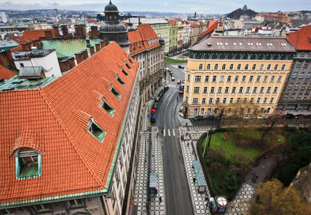 Prag Blick auf die Stadt von Jindrisska Turm Standard-Bild - 69069452