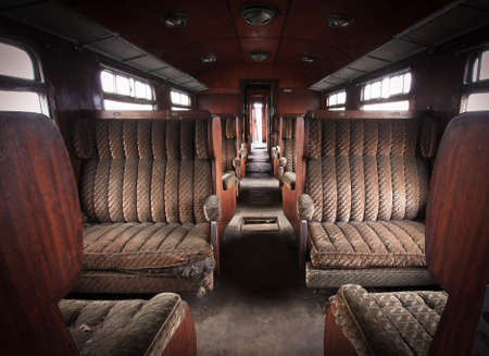 Interior of abandoned train Standard-Bild