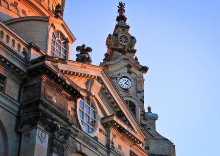 Clock tower of Frauenkirche, Dresden Standard-Bild