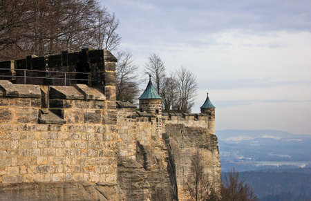 Towers of the fortress wall of German castle Konigstein