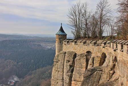 Tower of the fortress wall of German castle Konigstein Standard-Bild