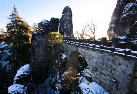 Stone bridge in winter Bastei, Saxony