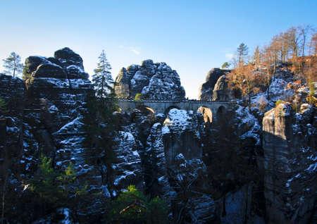 Stone bridge in winter Bastei, Germany