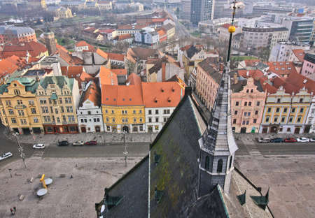 City view of Plzen and rooftop of cathedral