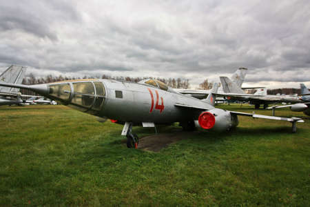 MOSCOW REGION, RUSSIA-OCT 26,2013: The Central Air Force Museum, housed at Monino Airfield, is one of the worlds largest aviation museums. Fighter in the field