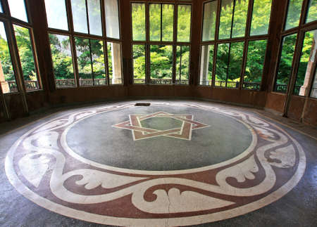 Seven pointed star on the floor of the pavilion