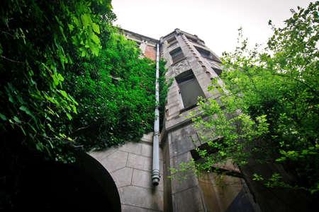 Verlassene rote Burg im Dschungel Standard-Bild - 73556752