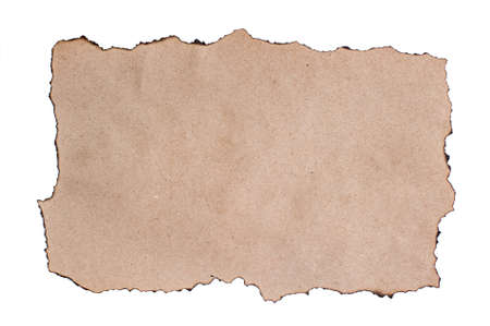 A sheet of rough brown paper with burned edges. Copy space