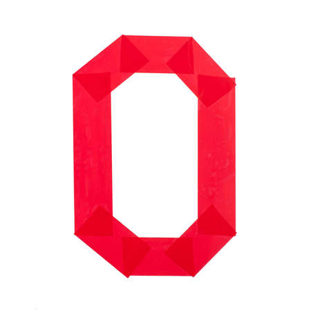 Number zero made from red scotch tape isolated on white background