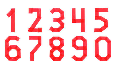 Set of numbers from red scotch tape isolated on a white background Stock fotó