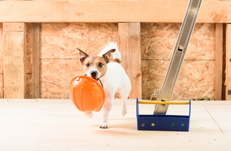 Humor concept of safety precaution at construction site Stock Photo