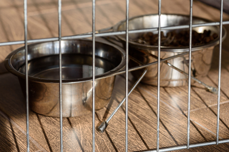 Doggy bowls with food and water behind canine cage bar