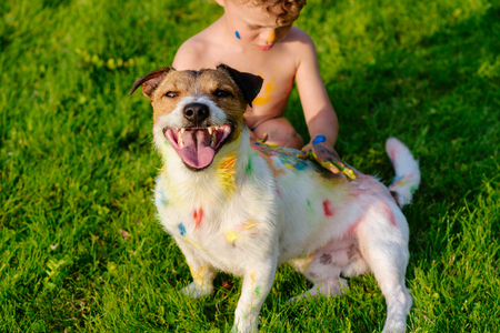 Kid painting with fingers on happy domestic pet dog
