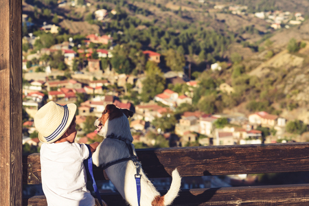 Two friends at tourist destination in Cyprus Stok Fotoğraf