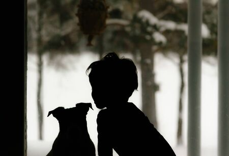 Silhouette of child and dog looking through window at winter landscape Фото со стока
