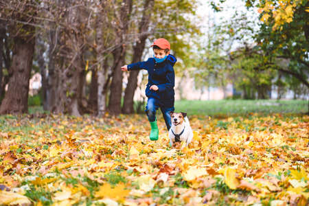 Kid boy in mask competes with his dog playing alone separately from other people in park