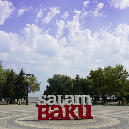 Salam Baku welcome Title at the Milli Park under the Cloudy Blue Sky. Editöryel