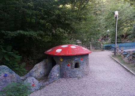 Borjomi Little Red Roofed Mushroom House at the Childrens Park