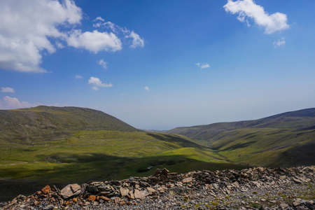 Mount Aragats Landscape of Mountains and Grass Land in Summer 写真素材
