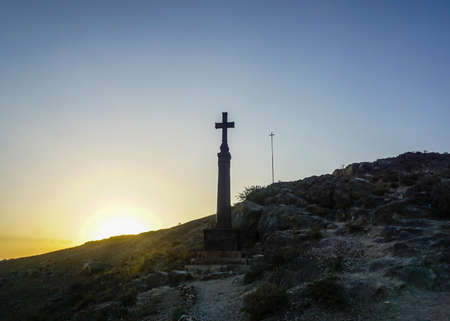 Khor Virap Monastery Cross on Pillar at Sunset in Summer with Blue Sky